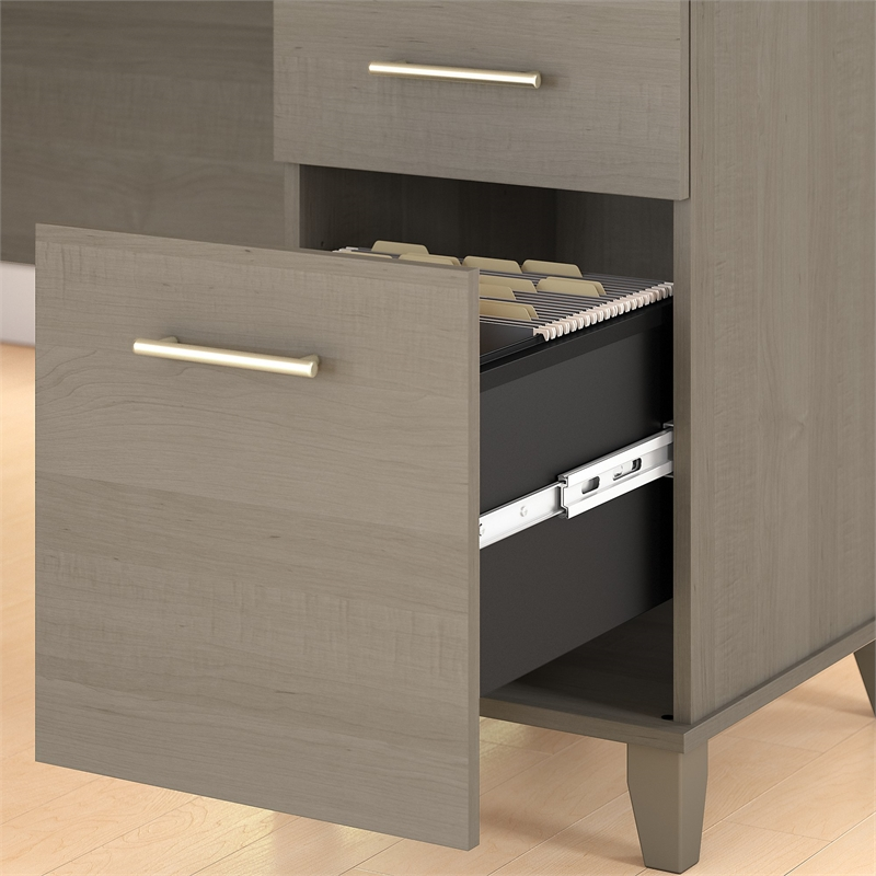 Somerset 60W Office Desk with File Cabinet and Bookcase in Ash Gray