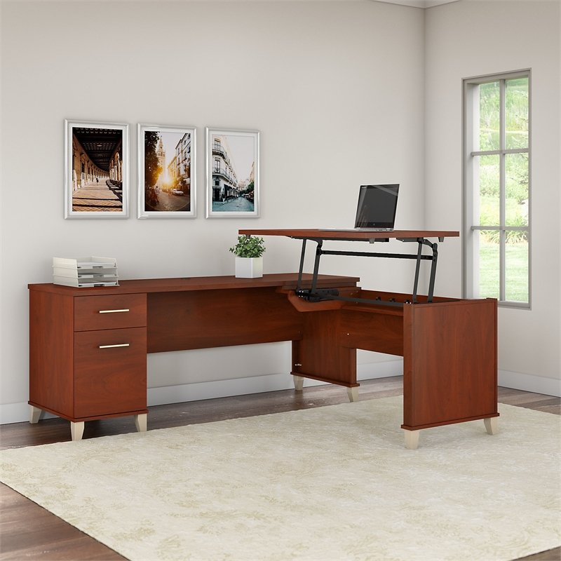 Somerset 72W 3 Position Sit To Stand L Shaped Desk In