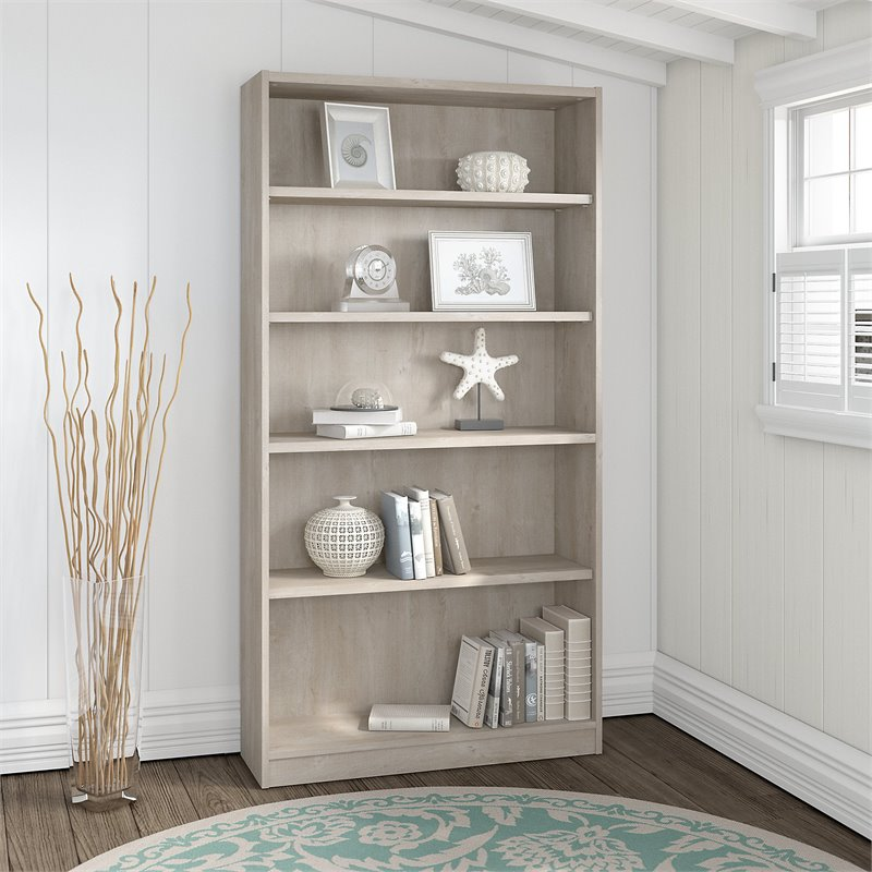 Bush Furniture Universal 5 Shelf Bookcase in Washed Gray