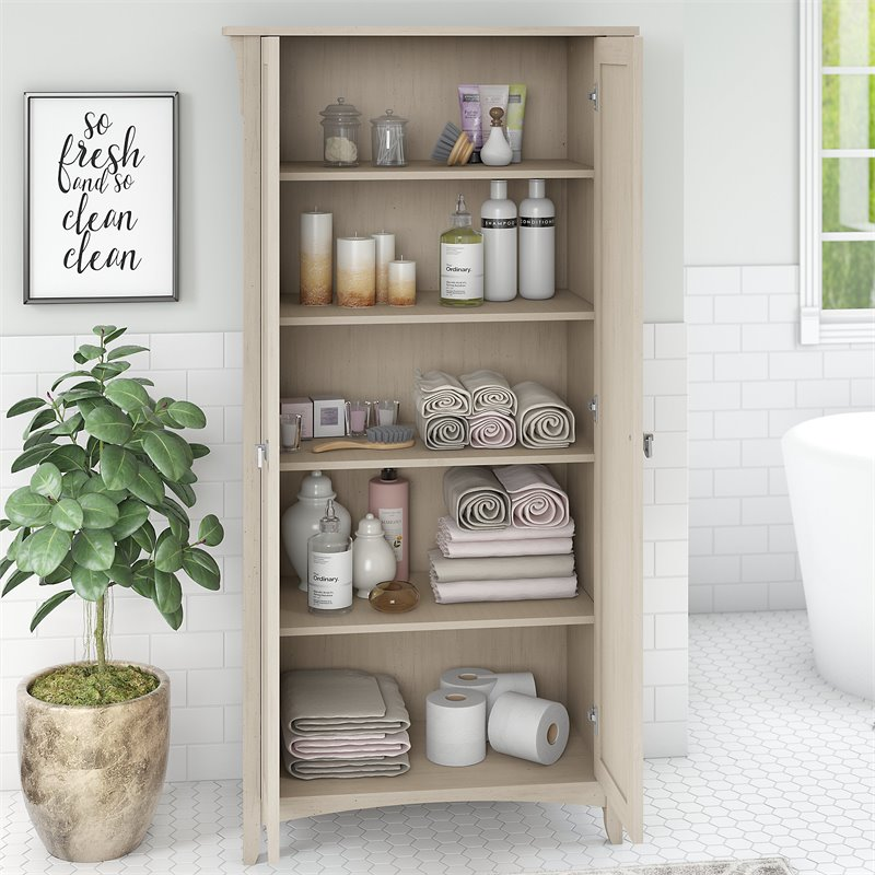 Bush Furniture Salinas Bathroom Storage Cabinet with Doors in Antique White