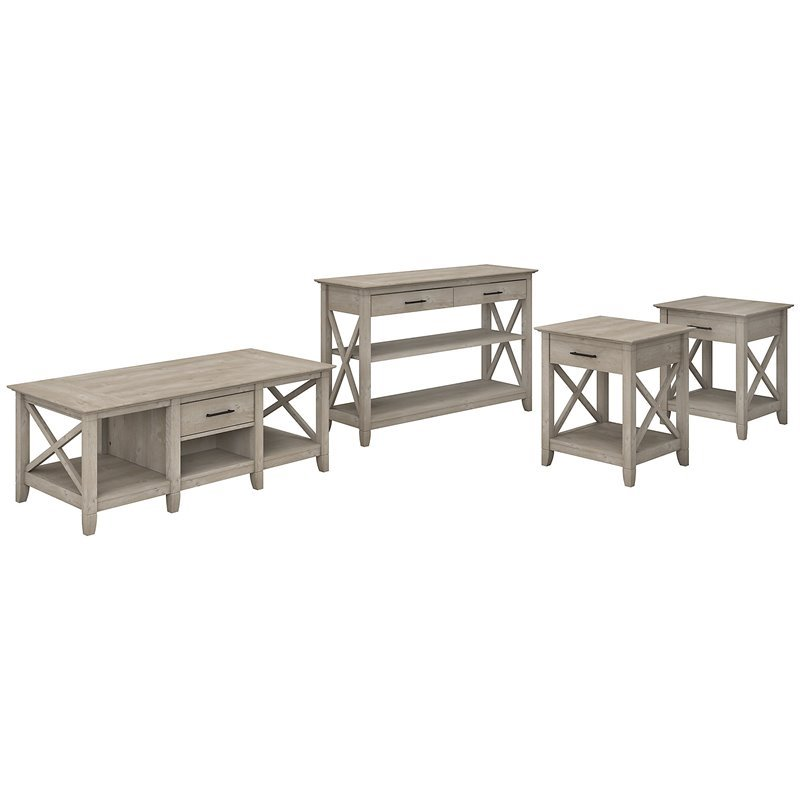 Bush Furniture Key West Coffee Table with Console Table & Set of 2 End Tables