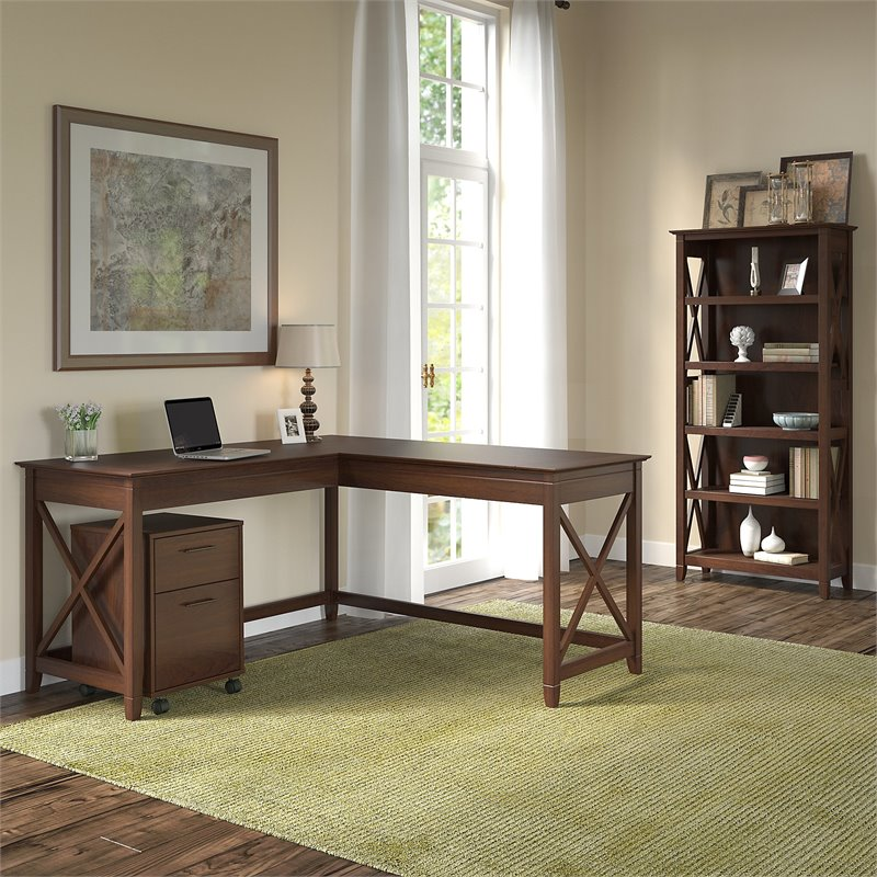 Bush Furniture Key West 60W L Shaped Desk With Mobile File