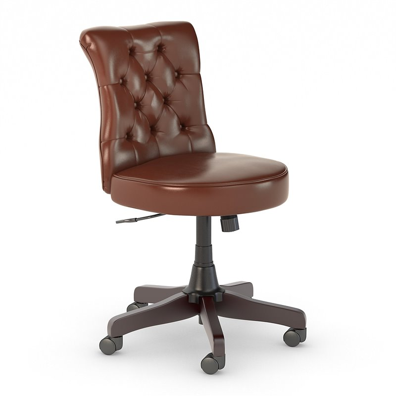 Fairview Mid Back Tufted Office Chair in Harvest Cherry  - Bonded Leather