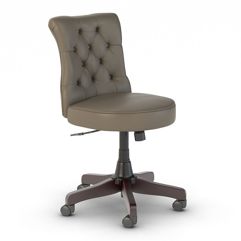 Key West Mid Back Tufted Office Chair in Washed Gray Leather