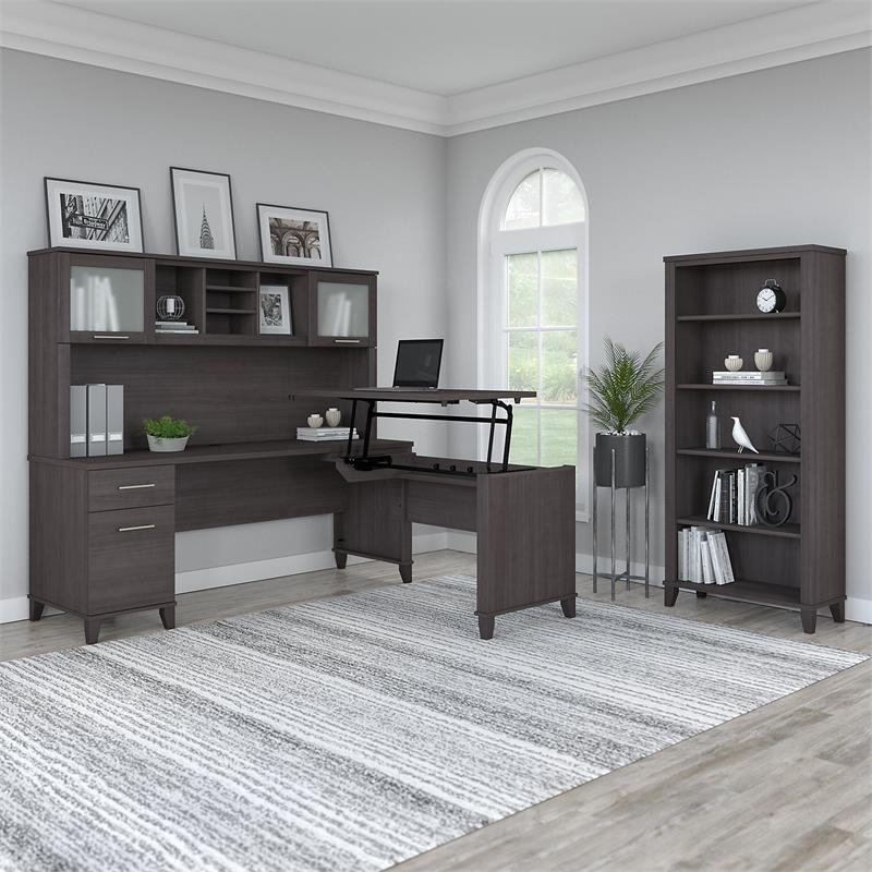 Somerset Sit to Stand L Desk Set with Bookcase in Storm Gray - Engineered Wood