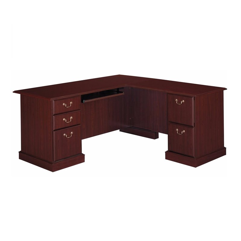 Bush Saratoga L Shape Executive Desk In Harvest Cherry