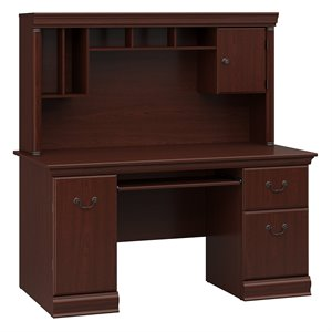 Bush Birmingham Computer Desk and Hutch in Harvest Cherry