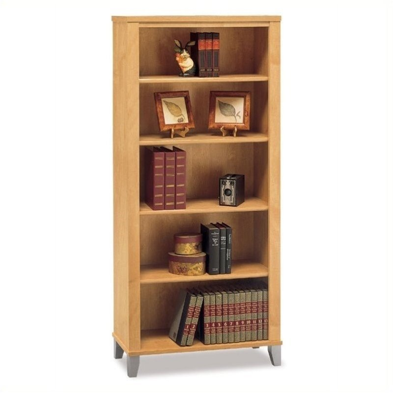 Bush Somerset 5 Shelf Wood Bookcase in Maple Cross