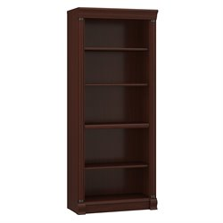Bush Birmingham 5 Shelf Wood Bookcase in Harvest Cherry