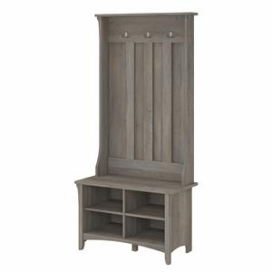 Salinas Hall Tree with Shoe Storage Bench in Driftwood Gray - Engineered Wood