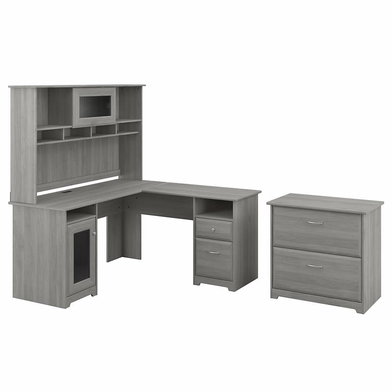 Cabot L Desk with Hutch and File Cabinet in Modern Gray - Engineered Wood
