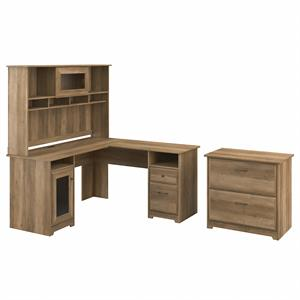 Cabot L Desk with Hutch and File Cabinet in Reclaimed Pine - Engineered Wood