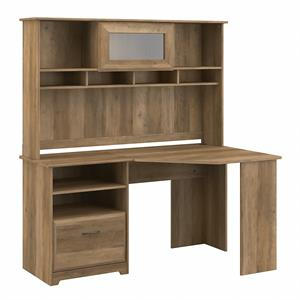 Cabot 60W Corner Desk with Hutch in Reclaimed Pine - Engineered Wood
