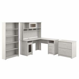 Cabot L Shaped Desk with Hutch and Storage in Linen White Oak - Engineered Wood