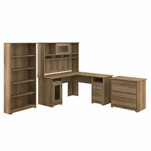 Cabot L Shaped Desk with Hutch and Storage in Reclaimed Pine - Engineered Wood