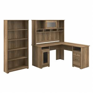 Cabot L Shaped Desk with Hutch and Bookcase in Reclaimed Pine - Engineered Wood