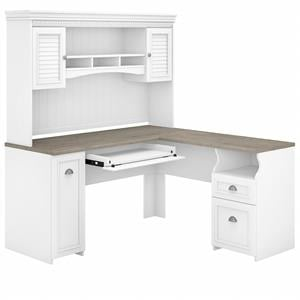 Fairview 60W L Desk with Hutch in Shiplap Gray and White - Engineered Wood