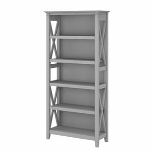 Key West Tall 5 Shelf Bookcase in Cape Cod Gray - Engineered Wood