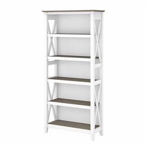 Key West Tall 5 Shelf Bookcase in Pure White and Shiplap Gray - Engineered Wood