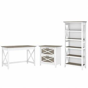 Key West 48W Desk with File Cabinet and Bookcase in White/Gray - Engineered Wood