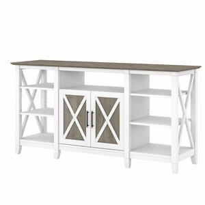 Key West Tall TV Stand for 65 Inch TV in White and Gray - Engineered Wood