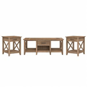 Key West Coffee Table with End Tables in Reclaimed Pine - Engineered Wood
