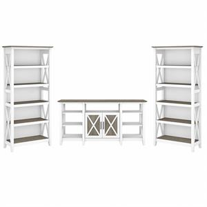 Key West Tall TV Stand with Bookcases in White and Gray - Engineered Wood