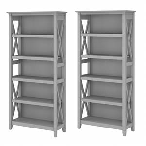 Key West 5 Shelf Bookcase Set of 2 in Cape Cod Gray - Engineered Wood