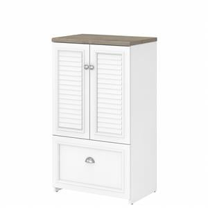 Fairview Storage Cabinet with File Drawer in White and Gray - Engineered Wood
