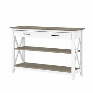 Key West Console Table with Drawers in White and Gray - Engineered Wood