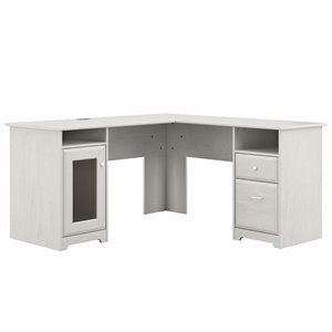 Cabot 60W L Shaped Computer Desk in Linen White Oak - Engineered Wood