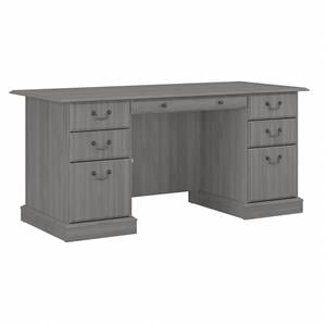 Saratoga Executive Desk with Drawers in Modern Gray - Engineered Wood