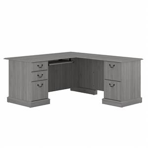 Saratoga L Shaped Computer Desk with Drawers in Modern Gray - Engineered Wood