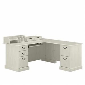 Saratoga L Shaped Desk with Desktop Organizers in Linen White - Engineered Wood