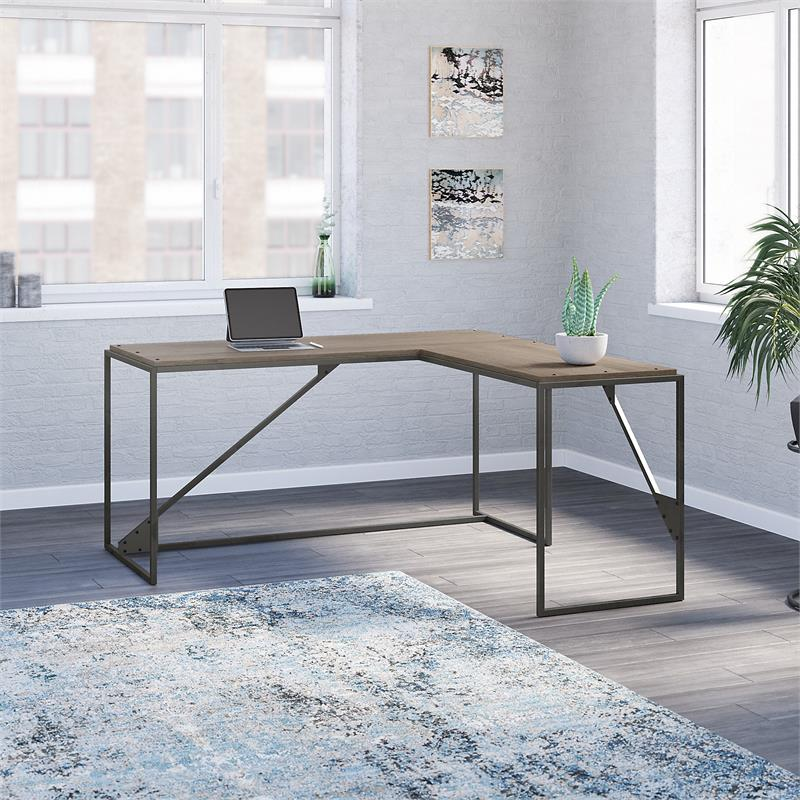 Refinery 62W L Shaped Industrial Desk in Restored Gray - Engineered Wood