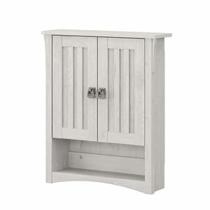 Salinas Bathroom Wall Cabinet with Doors in Linen White Oak - Engineered Wood