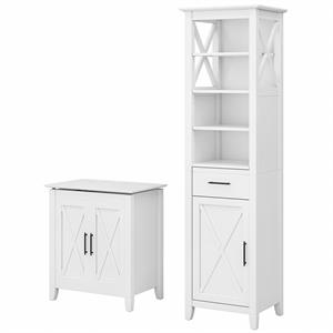 Key West Tall Linen Cabinet and Laundry Hamper in White Ash - Engineered Wood