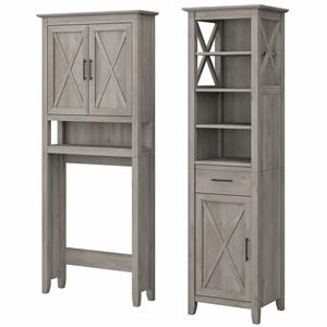 Key West Tall Linen Cabinet and Space Saver in Driftwood Gray - Engineered Wood