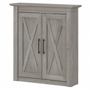 Key West Bathroom Wall Cabinet with Doors in Driftwood Gray - Engineered Wood