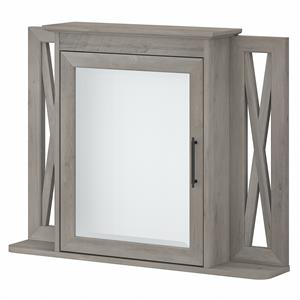 Key West Bathroom Medicine Cabinet with Mirror in Gray - Engineered Wood