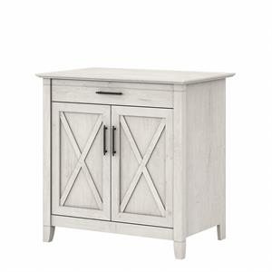 Key West Secretary Desk with Storage Cabinet in Linen White - Engineered Wood