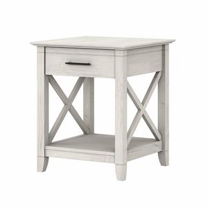 Key West End Table with Storage in Linen White Oak - Engineered Wood