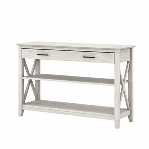 Key West Console Table with Drawers and Shelves in Linen White - Engineered Wood