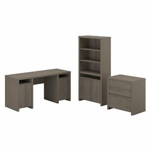 Bristol Computer Desk with File Cabinet and Bookcase in Gray - Engineered Wood