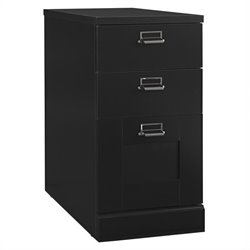 Bush MySpace Stockport 3 Drawer Lateral Wood Pedestal in Classic Black