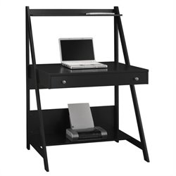 Bush MySpace Alamosa Wood Ladder Desk in Black