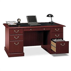 Bush Saratoga Executive Home Office Computer Desk with Bookcase in Cherry