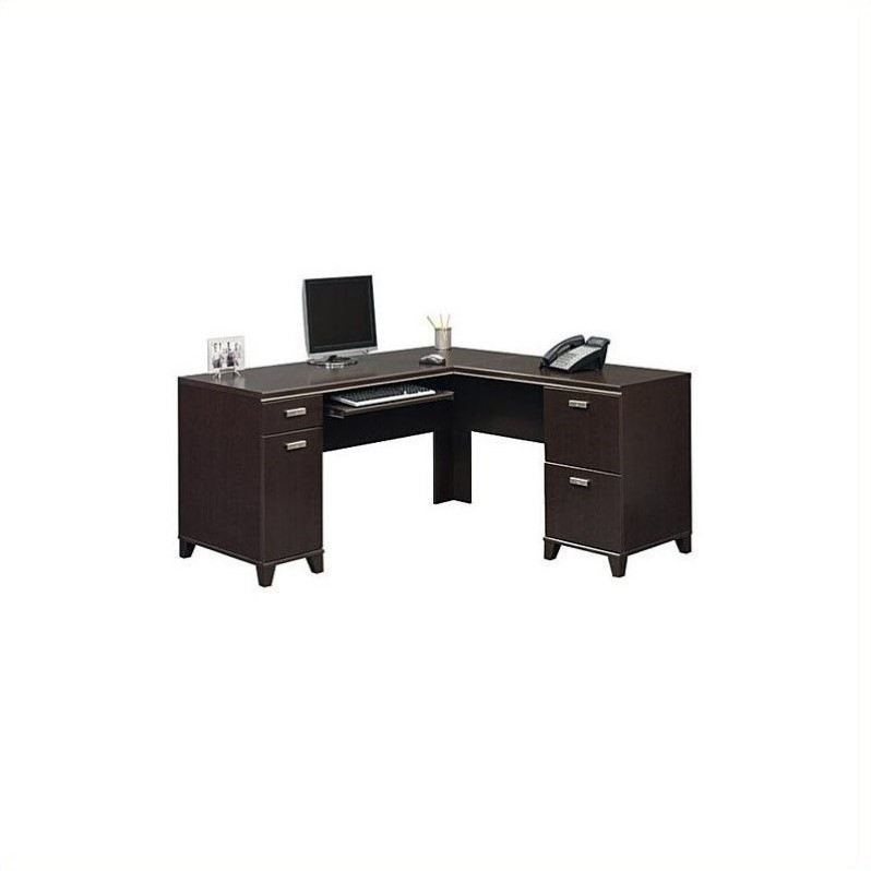 Delicieux Bush Furniture Tuxedo L Shaped Desk With Storage In Mocha Cherry