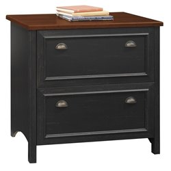 Bush Stanford 2 Drawer File Cabinet in Antique Black and Cherry