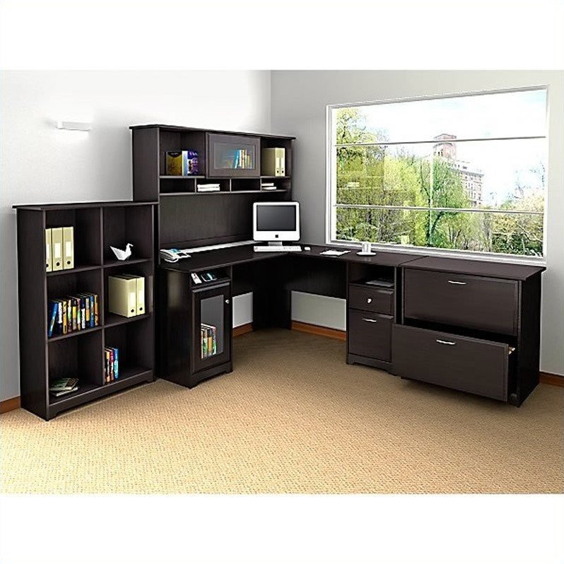 Bush Cabot L Shaped Computer Desk With Hutch In Espresso